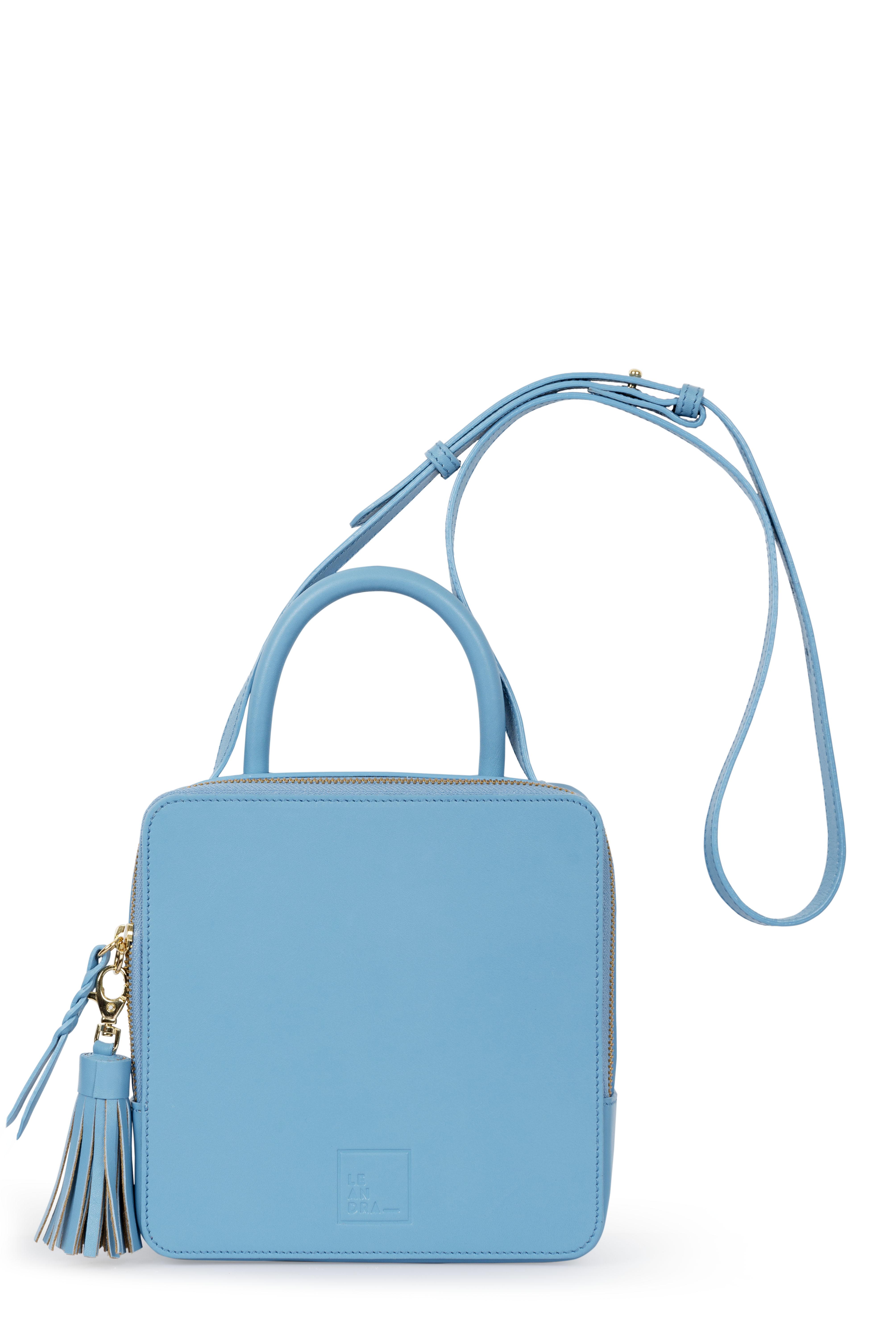 Bolso de mano de mujer Leandra de piel color azul
