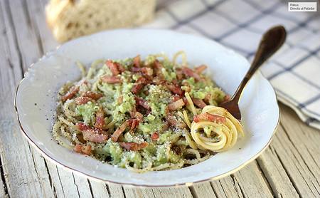 Espaguetis A La Carbonara De Aguacate