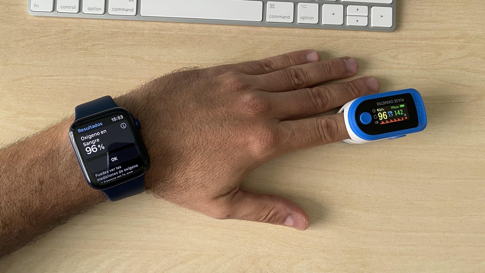 Mediciones simultáneas SpO2 con Apple Watch Series 6 y pulsioxímetro de dedo