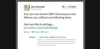 Twitter te permitirá recibir mensajes directos de cualquiera que te siga