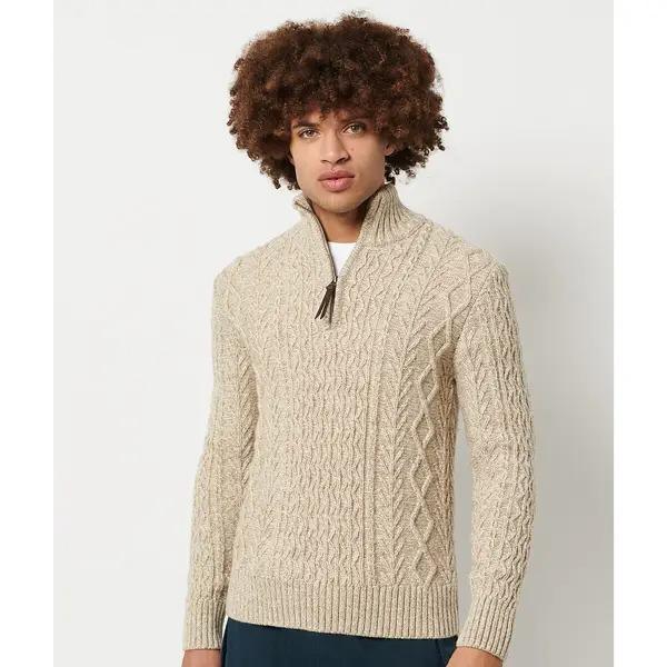 Jersey de cuello alto con cremallera de punto trenzado Jacob
