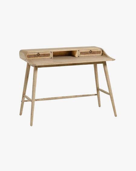 F7a2f2ac3bb9e898792ec589309df4b6Escritorio Nalu chapa y madera maciza mindi y detalles en ratán 110 x 60 cm