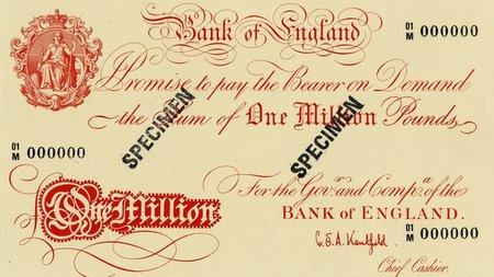 El billete del millón de libras ya existe