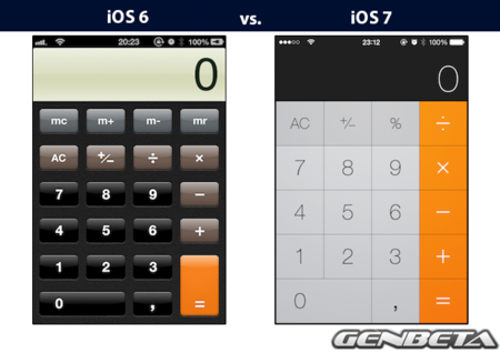 iOs 6 vs iOs 7 - calculadora