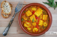 Bacalao en salsa de azafrán y gambas. Receta de Semana Santa