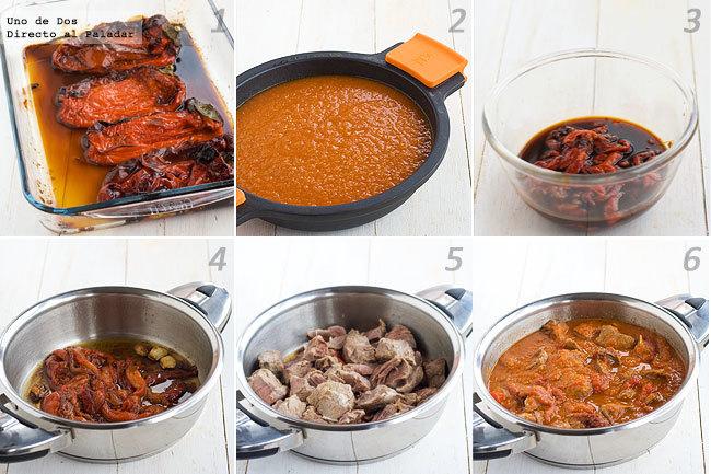 Carne con pimientos asados en salsa de tomate paso a paso