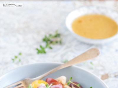 Ensalada primaveral de garbanzos con tomates y ventresca de atún