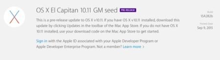 OS X El Capitan GM, Apple lanza la versión golden master de OS X