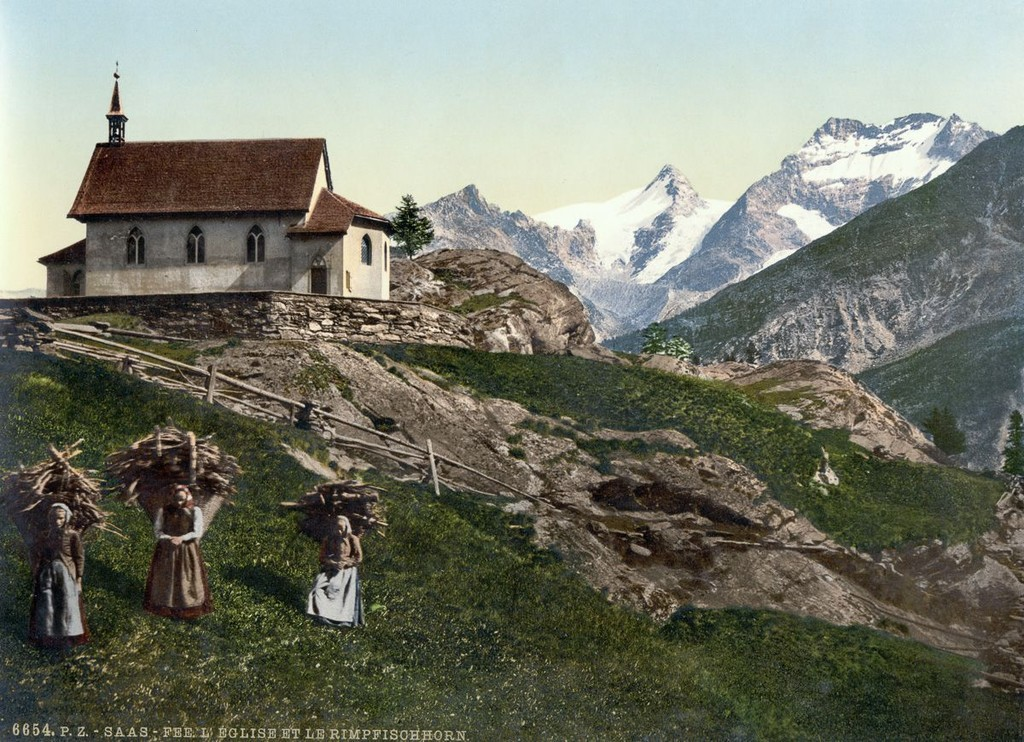 The Village Of Saas Fee And The Rimpfischhorn