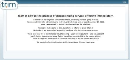 El acortador de URLs Tr.im es dado de baja, sus enlaces dejarán de funcionar en 2010