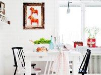 Una cocina tradicional sueca en rojo y blanco