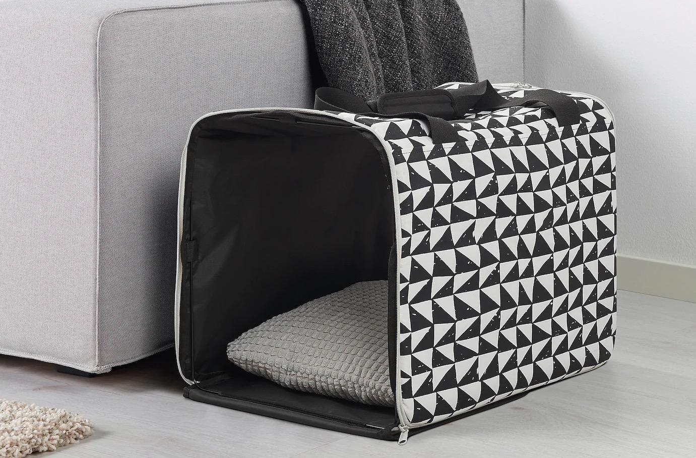 Bolsa viaje mascota, blanco, negro