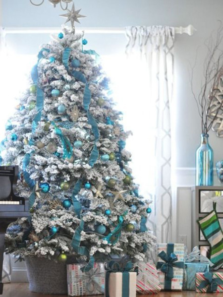 Gallery 1445975778 Blue And White Christmas Tree Centsational Girl