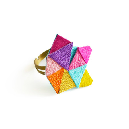 Neon Adjustable Ring Geometric Leather Triangle Prism Facets