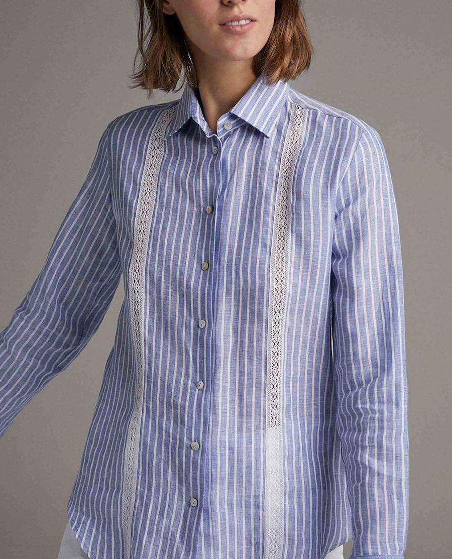 Camisa de mujer masculina con aplicaciones de encaje