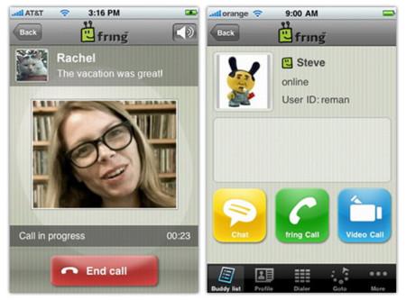 Fring también ofrece videollamadas a través de Skype en iPhone