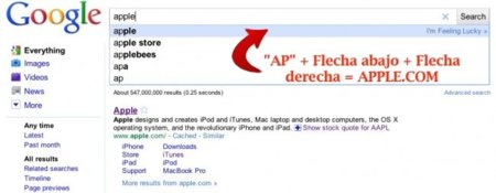 Utiliza sólo tu teclado para acceder a los principales resultados de las búsquedas en Google Instant