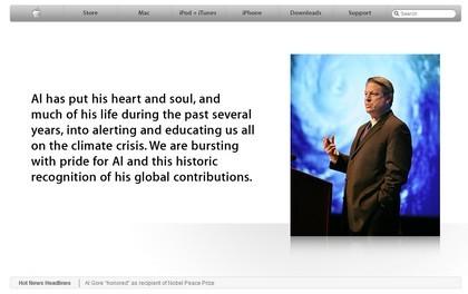 Apple.com cambia como reconocimiento al nuevo premio Nobel de la Paz, Al Gore