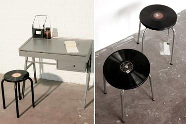 Usando discos de vinilo para recuperar viejos taburetes