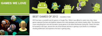 Los mejores juegos Android de 2012 según Google