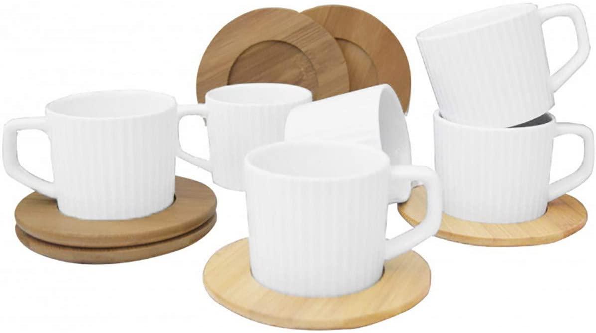 Juego de tazas con plato de bambú
