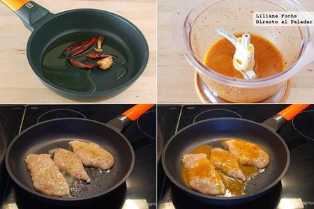 Pechugas de pollo picantes a la plancha. Pasos de la receta
