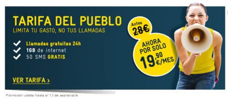 1GB de navegación y llamadas sin límite por 19,90€ con la Tarifa Pueblo