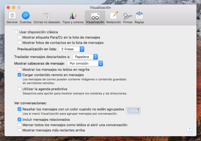 Mail Preferencias Mac