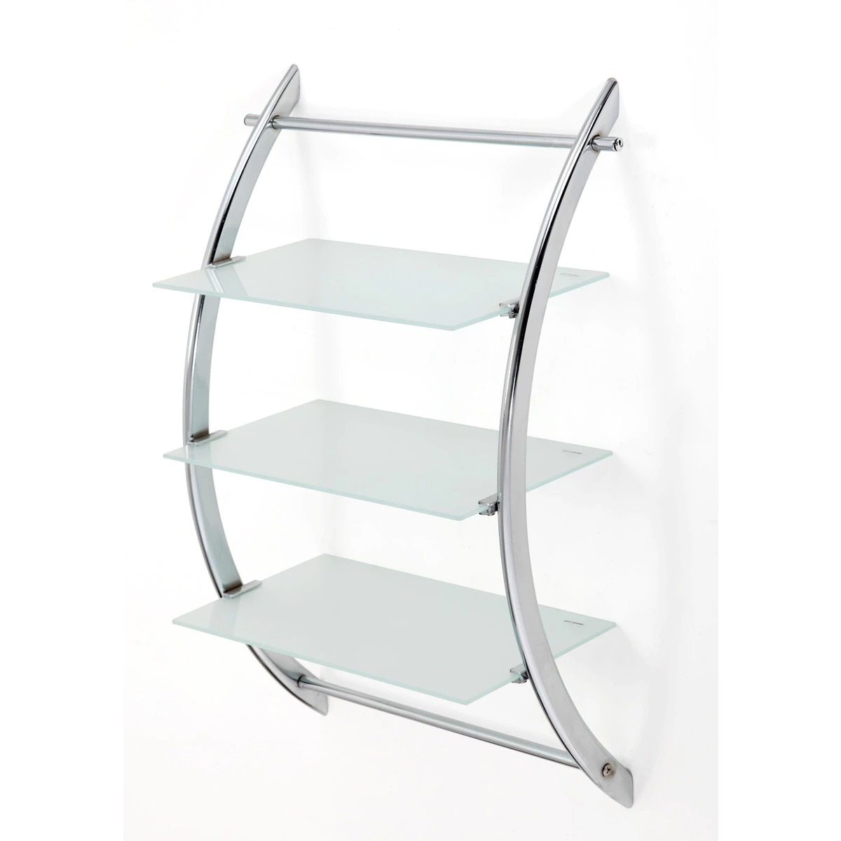 Estante metálico de estructura semicircular en profundidad, con 3 baldas de repisa de cristal, realizadas con vidrio de seguridad mateado.