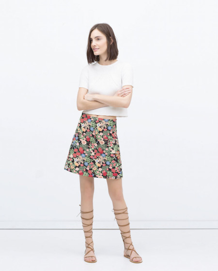 Mini Falda Flores Zara Rebajas