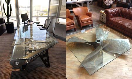 17 muebles de estilo industrial fabricados con viejas partes de aviones