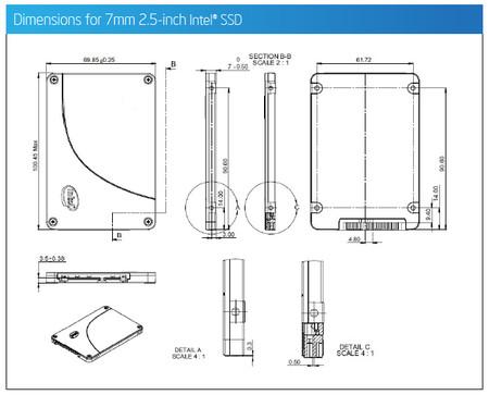 Intel SSD dimensiones