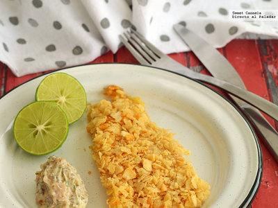 Pescado cubierto con papas chips y mayonesa con chalota y estragón. Receta