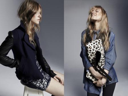 Estilo rockero chaqueta bimaterial cuero bolso leopardo U Adolfo Dominguez catalogo otono invierno 2013 2014