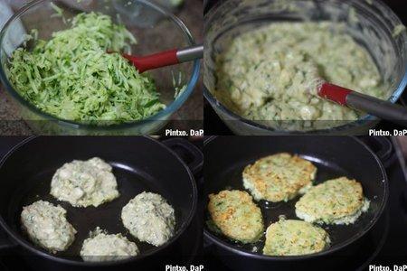 Buñuelos de calabacín y queso feta. Pasos