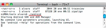 OS X aplicación ANDROID del SDK