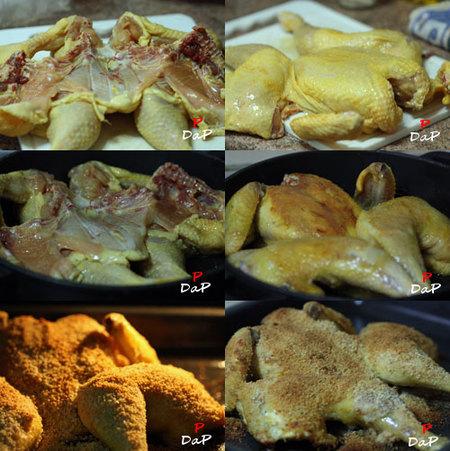 Fotos de la elaboración del pollo parrilla americana