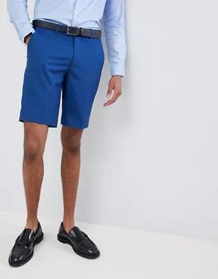 Pantalones cortos de traje ajustados para boda en azul de Farah