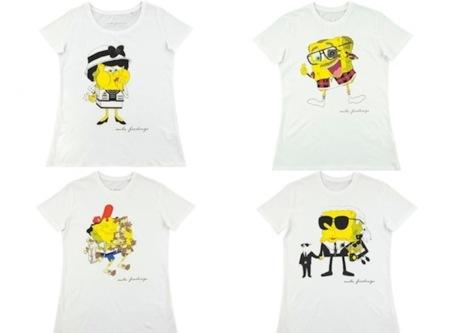 Bob Esponja, convertido en ícono de la moda, ilustra unas camisetas
