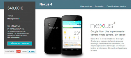 Nexus 4 vuelve a tener stock en Google Play