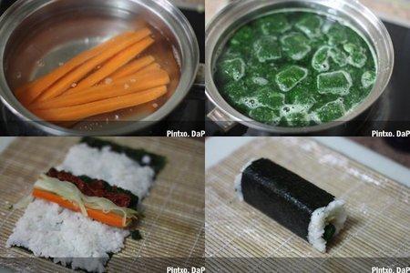 Sushi de verduras. Pasos