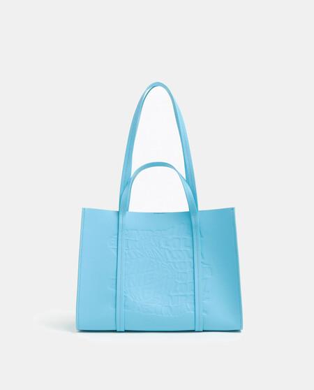 Bolso Shopper Mediano Bimba Y Lola En Azul Con Logo Grabado Frontal