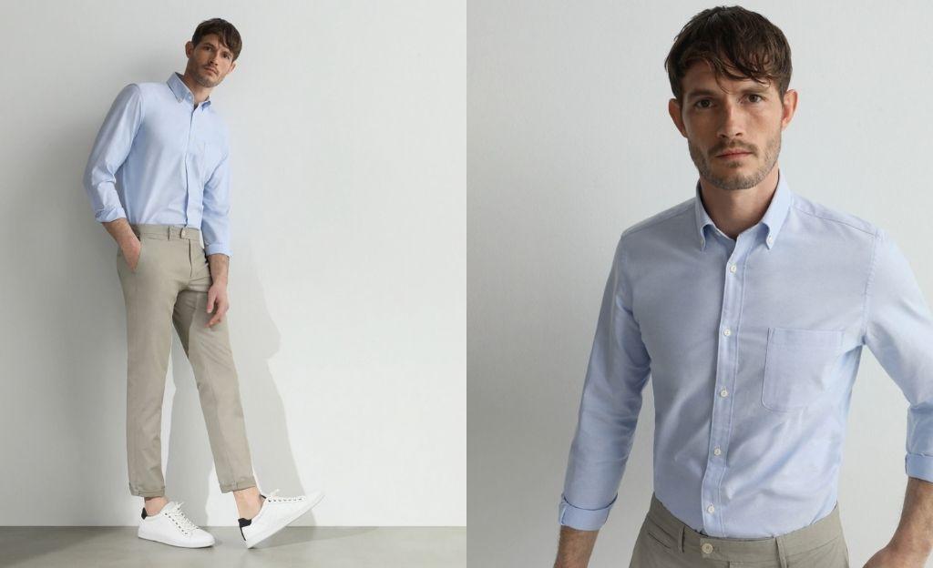 Camisa oxford Fácil Plancha de hombre classic lisa azul