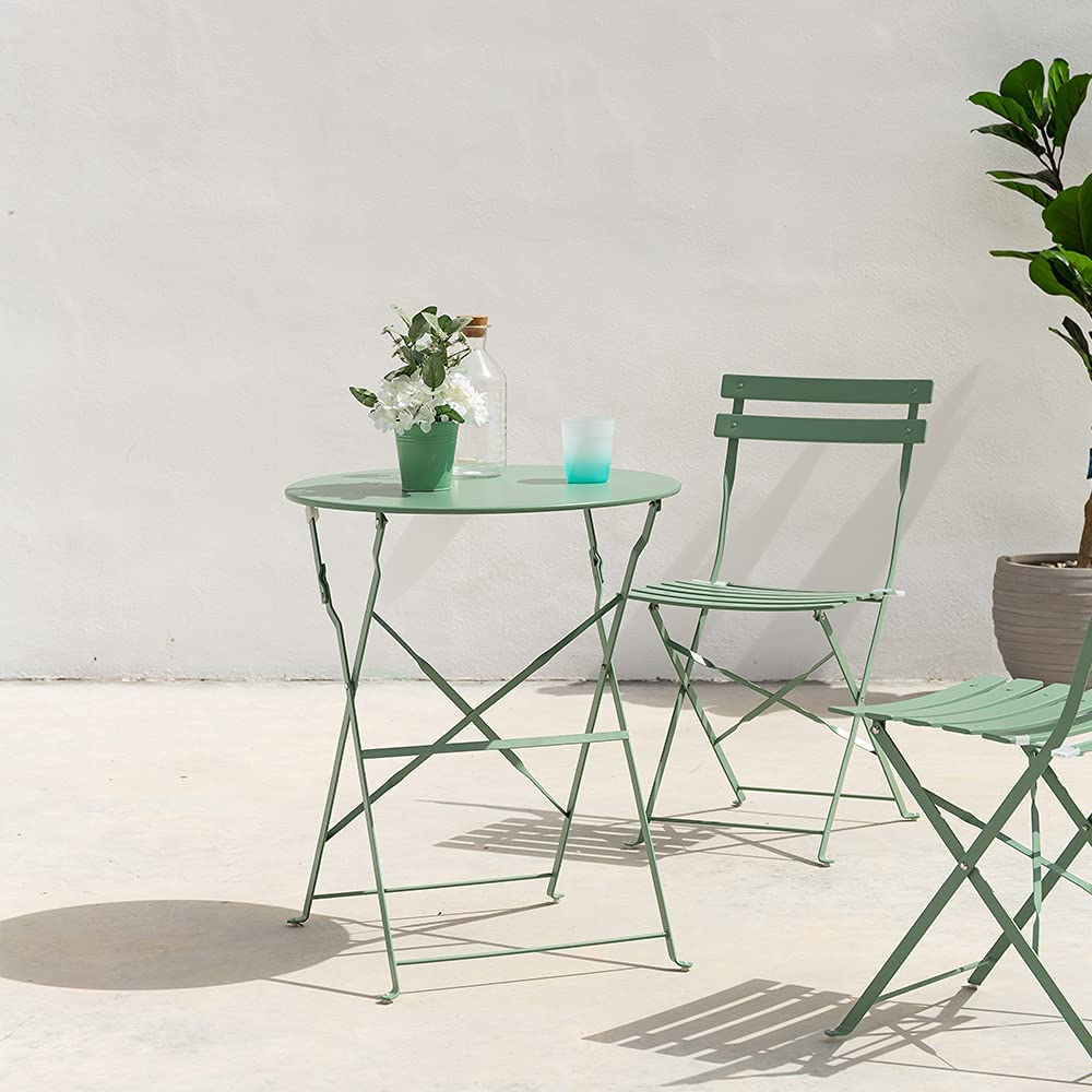 LOLAhome Conjunto de Mesa y 2 sillas para Exterior de Acero (Verde)