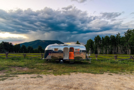 Airstream With Mountains In The Background