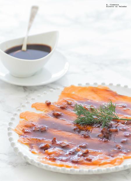 Salmón marinado con jengibre, wasabi y salsa de cítricos. Receta
