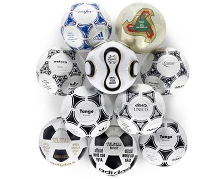 Colección de 10 balones históricos Adidas del Mundial