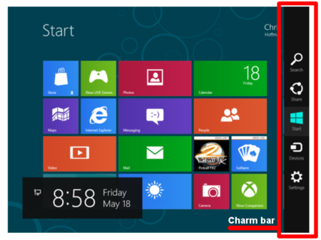 Charm Bar Windows 8.1
