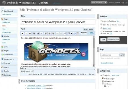 Wordpress 2.7 Beta 3: a escasos días de la versión final