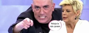"""Kiko Hernández arrastra a Terelu Campos por el plató de 'Sálvame': """"Tu madre te llevaba en contrato con una cláusula"""""""